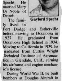 Obituary - Gaylord Specht